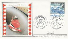 MONACO FDC 1992 J O ALBERTVILLE - BOBSLEIGH - FDC