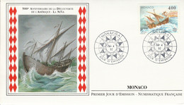 MONACO FDC 1992 EUROPA - SERIE NAVIRES DE CHRISTOPHE COLOMB - FDC