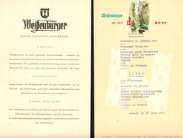 """Menükarte 1960  Schweiz Suisse Svizzera """" Weißenburger Tafelwaser Weissenburg Mineralthermen Thun AG """" - Menus"""