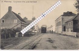 """WARCOING-PECQ""""LA POMME D'OR,PONT DU CANAL AVEC TRAM A VAPEUR""""EDIT.VVE CHEVALIER ET FILS - Pecq"""