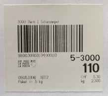 1996 Test Paketbarcode, 3000 Bern 1 Schanzenpost, Aus Schapo-Gerät Gerissen 9.5.1996, Taxe: CHF 5.30, Für Paket Bis 5 Kg - Automatenzegels