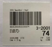 1996 Test Paketbarcode, 2001 Neuchàtel 1 Dépôt, Aus Schapo-Gerät Gerissen, 10.5.1996, Taxe: CHF 5.30, Für Paket Bis 5 Kg - Automatenzegels