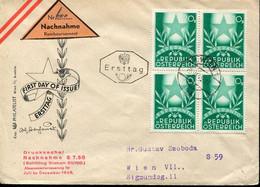 64109 Austria,bloc Of 4 Fdc 1949 Esperanto - Esperanto