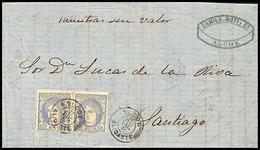1870.Ed:107(2).Carta.Gobierno Provisional.Alcoy-Santiago.Gobierno Provisional.Matasello Fechador Tipo II ALCOY/ALICANTE - Briefe U. Dokumente