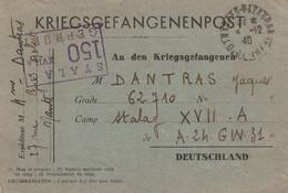 CPFM KRIEGSGEFANGENENPOST De Nantes Pour Stalag XVII A GEPRUFT. Censure 4/12/1940 . Pow Allemagne - WW II