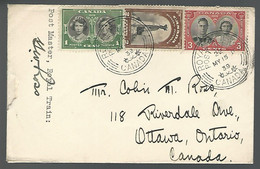 58427) Canada Royal Train Post Office Postmark Cancel 1939 Signed By Post Master - Cartas