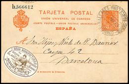 1917.Ed:º53EP.Entero Postal.Alfonso XIII.Matasello VAPOR-CORREO-BALEARES/BARCELONA En Negro Sobre 10 Cts Naranja - 1850-1931