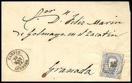 1873.Ed:121.Carta.Amadeo I.Carpio-Granada.Matasello Rombo De Puntos Relleno Sobre 10 Cts Ultramar.Marca Fechador Tipo II - Cartas