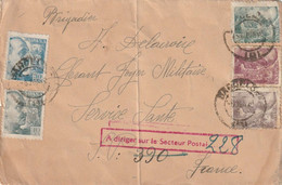 Lettre Espagne Pour Secteur Postal Fictif 390. A Orienter Sur Le Secteur Postal 228. Censure. Arrivée Bureau Central - WW II