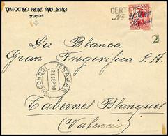 """1930.Ed:495.Frontal.Alfonso XIII.Higueras-Tabernes Blanques.Matasello CERTIFICADO/Nº. Y Manuscrito """"21-SEP-30/HIGUERAS"""" - Cartas"""