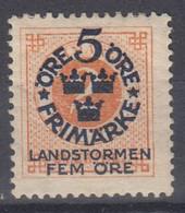 ++M1567. Sweden 1916. Landstorm. AFA 77. Michel 86. MH(*)  Hinged - Unused Stamps