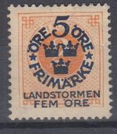 ++M1568. Sweden 1916. Landstorm. AFA 77. Michel 86. MH(*)  Hinged - Unused Stamps