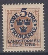 ++M1569. Sweden 1916. Landstorm. AFA 78. Michel 87. MH(*)  Hinged - Unused Stamps