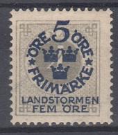 ++M1570. Sweden 1916. Landstorm. AFA 79. Michel 88. MH(*)  Hinged - Unused Stamps