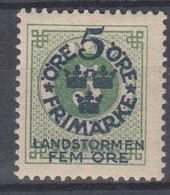 ++M1572. Sweden 1916. Landstorm. AFA 80. Michel 89. MH(*)  Hinged - Unused Stamps
