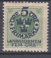 ++M1573. Sweden 1916. Landstorm. AFA 80. Michel 89. MH(*)  Hinged - Unused Stamps