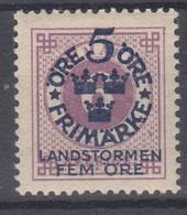 ++M1574. Sweden 1916. Landstorm. AFA 81. Michel 90. MH(*)  Hinged - Unused Stamps