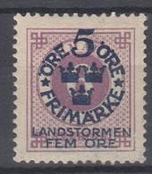 ++M1575. Sweden 1916. Landstorm. AFA 81. Michel 90. MH(*)  Hinged - Unused Stamps