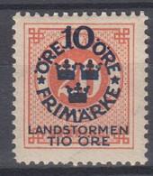 ++M1578. Sweden 1916. Landstorm. AFA 83. Michel 92. MH(*)  Hinged - Unused Stamps
