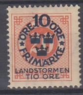 ++M1579. Sweden 1916. Landstorm. AFA 83. Michel 92. MH(*)  Hinged - Unused Stamps