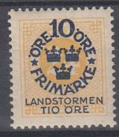 ++M1580. Sweden 1916. Landstorm. AFA 84. Michel 93. MH(*)  Hinged - Unused Stamps