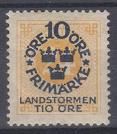 ++M1581. Sweden 1916. Landstorm. AFA 84. Michel 93. MH(*)  Hinged - Unused Stamps