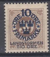 ++M1582. Sweden 1916. Landstorm. AFA 85. Michel 94. MH(*)  Hinged - Unused Stamps