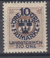 ++M1583. Sweden 1916. Landstorm. AFA 85. Michel 94. MH(*)  Hinged - Unused Stamps