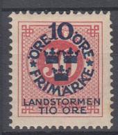 ++M1584. Sweden 1916. Landstorm. AFA 86. Michel 95. MH(*)  Hinged - Unused Stamps