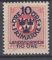 ++M1585. Sweden 1916. Landstorm. AFA 86. Michel 95. MH(*)  Hinged - Unused Stamps