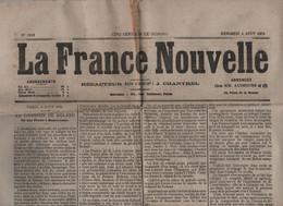 LA FRANCE NOUVELLE 04 08 1875 - RONCEVAUX CHANSON DE ROLAND - ELECTIONS SENATEURS - EGYPTE CALENDRIER GREGORIEN - - 1850 - 1899