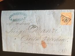 ANTICO BIGLIETTO POSTALE-1871-MARSIGLIA X CIVITA VECCHIA-ANNULLO PUNTIFORME 240 - 1871-1875 Ceres