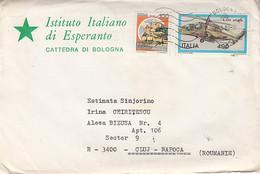 LANGUAGES, ESPERANTO, BOLOGNA INSTITUTE HEADER, CASTLE, HELICOPTER STAMPS ON COVER, 1983, ITALY - Esperanto