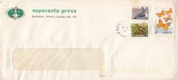 LANGUAGES, ESPERANTO PRESS RABBIT, PORCUPINE, BUTTERFLIES STAMPS ON COVER, 1989, CANADA - Esperanto