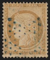 France N°59, Oblitéré étoile De Paris BLEUE, Cérès 15c Bistre - TB - 1871-1875 Ceres