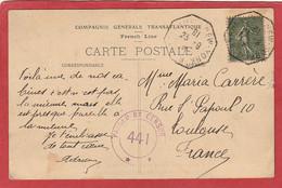 Cachet Hexagonal BORDEAUX A NEW YORK  B Sur Semeuse 15C 1918 Avec Cachet De Censure - Poste Maritime - Maritime Post