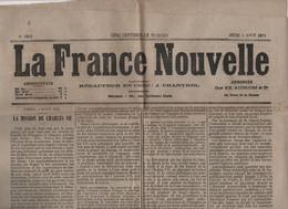 LA FRANCE NOUVELLE 05 08 1875  CARLOS VII ESPAGNE - OCTROIS - LABOULAYE - BESANCON - MONTREUIL - HENNEBONT - DU GUESCLIN - 1850 - 1899