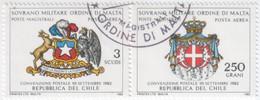"""SMOM - 1982 - USATO - Posta Aerea """"Convenzione Postale Col Cile"""" S. Cpl 2v Uniti (rif. A1/A2 Cat. Unificato) - Malte (Ordre De)"""