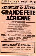 Beynes (78) Affichette Fête Aérienne Aérodrome De Beynes. 1972. - Posters