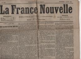 LA FRANCE NOUVELLE 06 08 1875 - VACANCES DEPUTES - CHARLES FLOQUET LONDRES - CHEMINS DE FER GRANDE CEINTURE PARIS - - 1850 - 1899