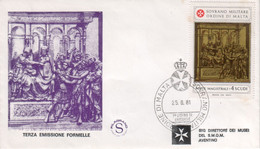 """SMOM - 1981 - FDC - """"Formelle Nel Battistero Del Duomo Di Siena"""" 1v (rif. 194 Cat. Unificato) - Malte (Ordre De)"""