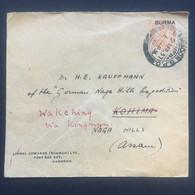 BURMA 1937 Cover Rangoon To Kohima Re-directed To Wakching - `Lionel Edwards` + Kongnyu Postmark To Rear - Burma (...-1947)