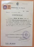FISCAUX DE MONACO SERIE UNIFIEE  N°9  30F Orange Sur Certificat Canton De GENEVE - Fiscale Zegels
