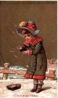 TRES JOLIE CHROMO DOREE  / CHOCOLAT GUERIN BOUTRON / VALLET MINOT / IL A BIEN FROID - Guerin Boutron