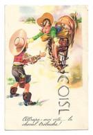 """Couple De Cow-boys, Chute De Cheval:"""" Attrape Moi Vite... Le Cheval Trébuche!"""" - Humor"""
