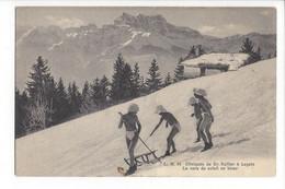 28075-  Leysin Cliniques Du Dr Rollier La Cure De Soleil En Hiver En Luge - VD Vaud