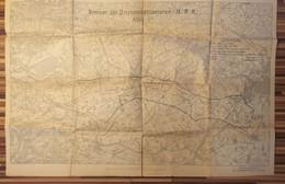Plan Carte Militaire 1918 Region Nord France Environ De Lille Map Karte Militaria W1 Grenzen Der Ortskommandanturen - 1914-18