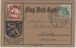 DR - Flugpost Rhein-Main 1912, 10 Pfg. A. Illustr. Flugpostkarte SST Mainz - Brieven
