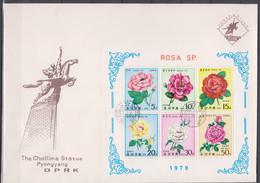 NORTH KOREA - Rosa - FDC Cover - Corea Del Nord