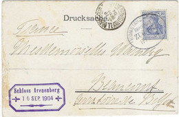 1904 Deutsche Reichspost / Cachet Ambulant Bahnpost Konstanz - Singen /Schloss Arenenberg / Postkarte Kirche Niederzell - Autres